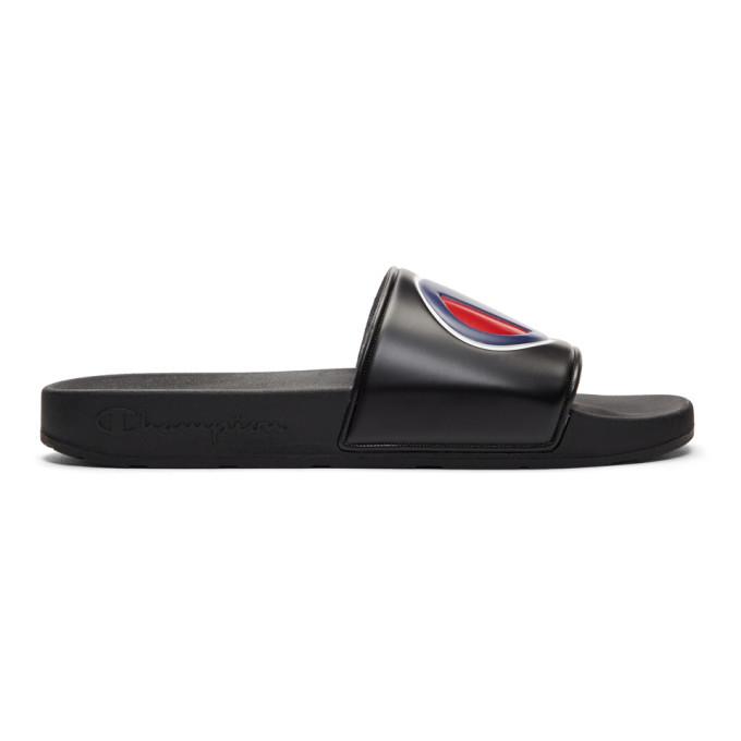 Photo: Champion Reverse Weave Black Logo Pool Slides