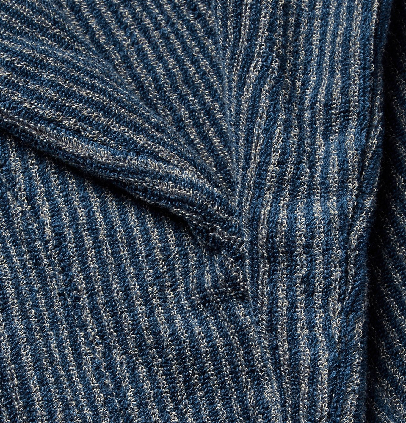 Cleverly Laundry - Striped Cotton-Terry Robe - Blue