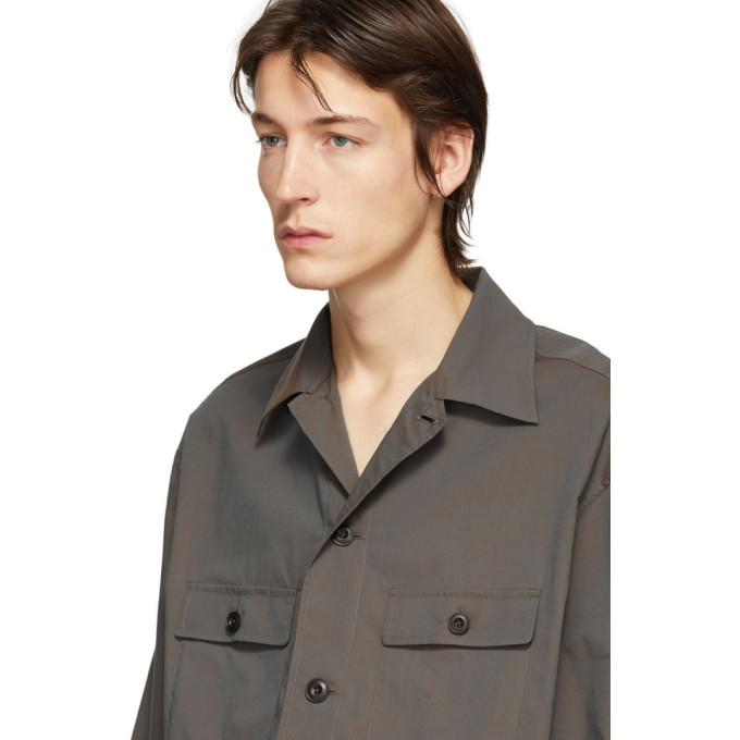 Lemaire Brown Three-Quarter Sleeve Tropical Shirt