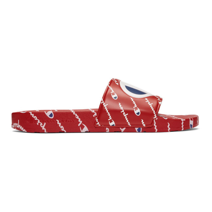 Photo: Champion Reverse Weave Red Repeat Logo Slides