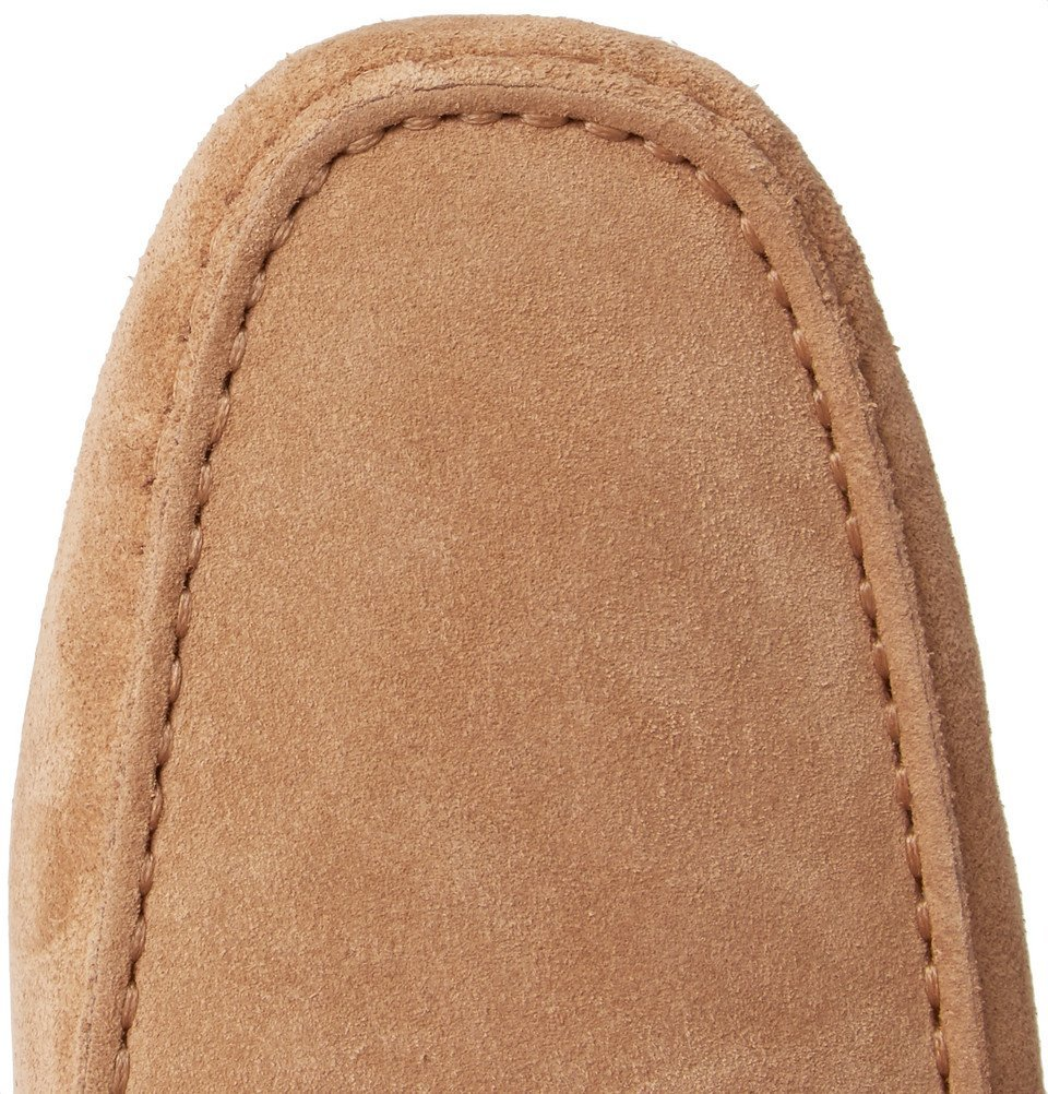 Tod's - Gommino Leather-Trimmed Suede Driving Shoes - Men - Sand