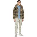 RRL Brown and Beige Fleece Mountain Jacket