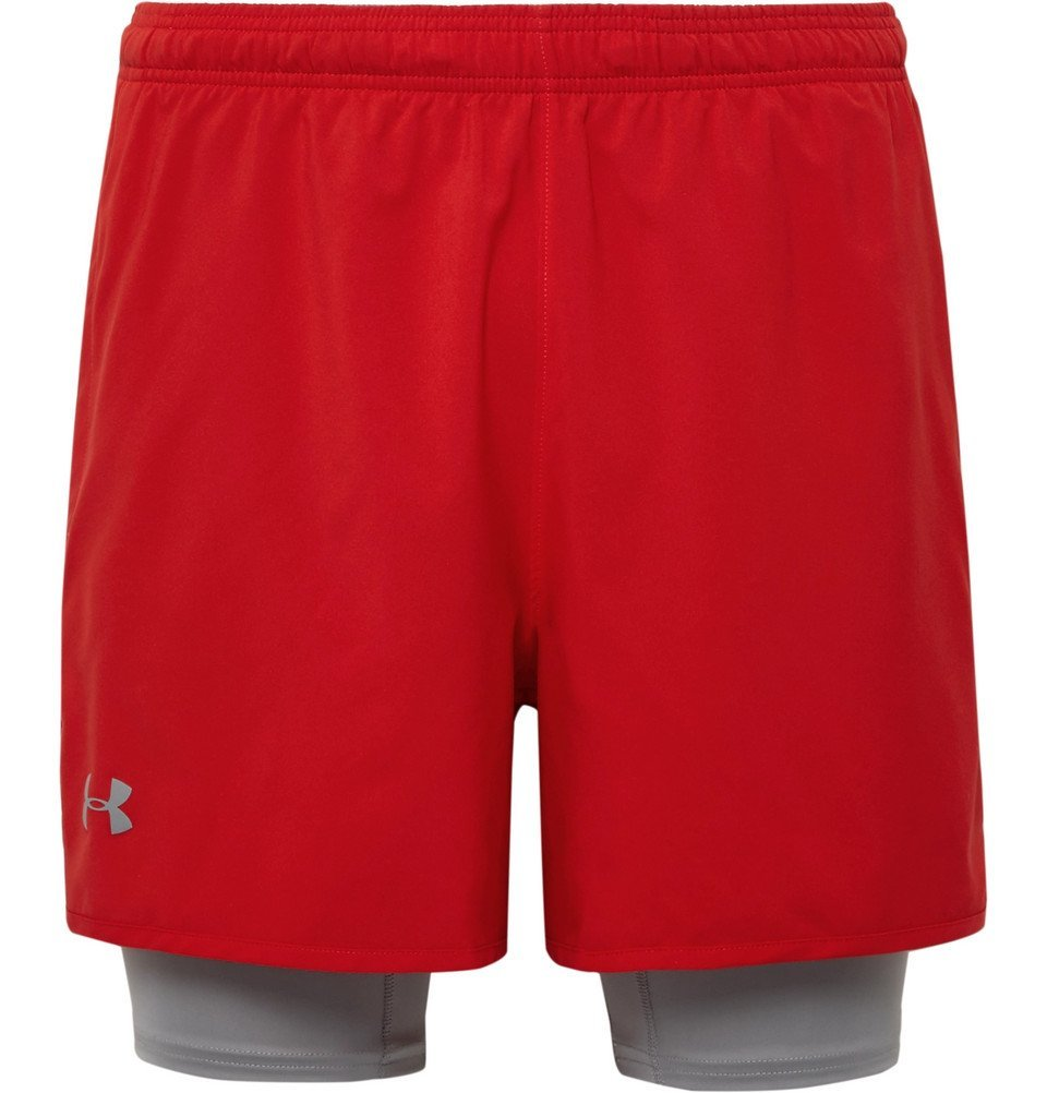 Photo: Under Armour - Qualifier 2-in-1 Shell and Stretch-Jersey Shorts - Men - Red