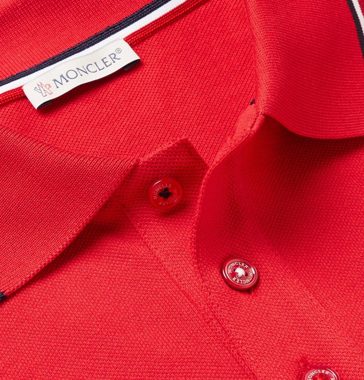 Moncler - Logo-Appliquéd Striped Cotton-Piqué Polo Shirt - Red