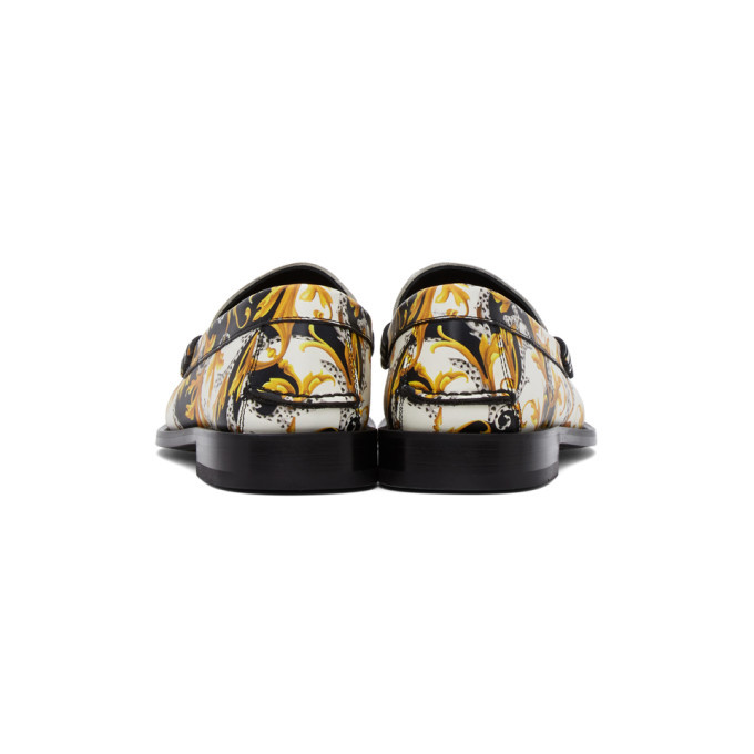 Versace Black and White Barocco Loafers