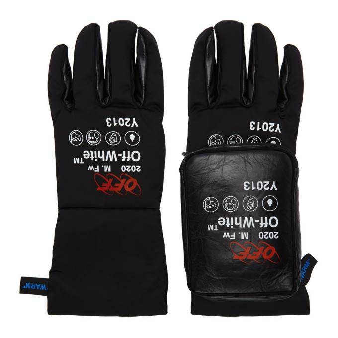 Photo: Off-White Black and White Pouch Gloves
