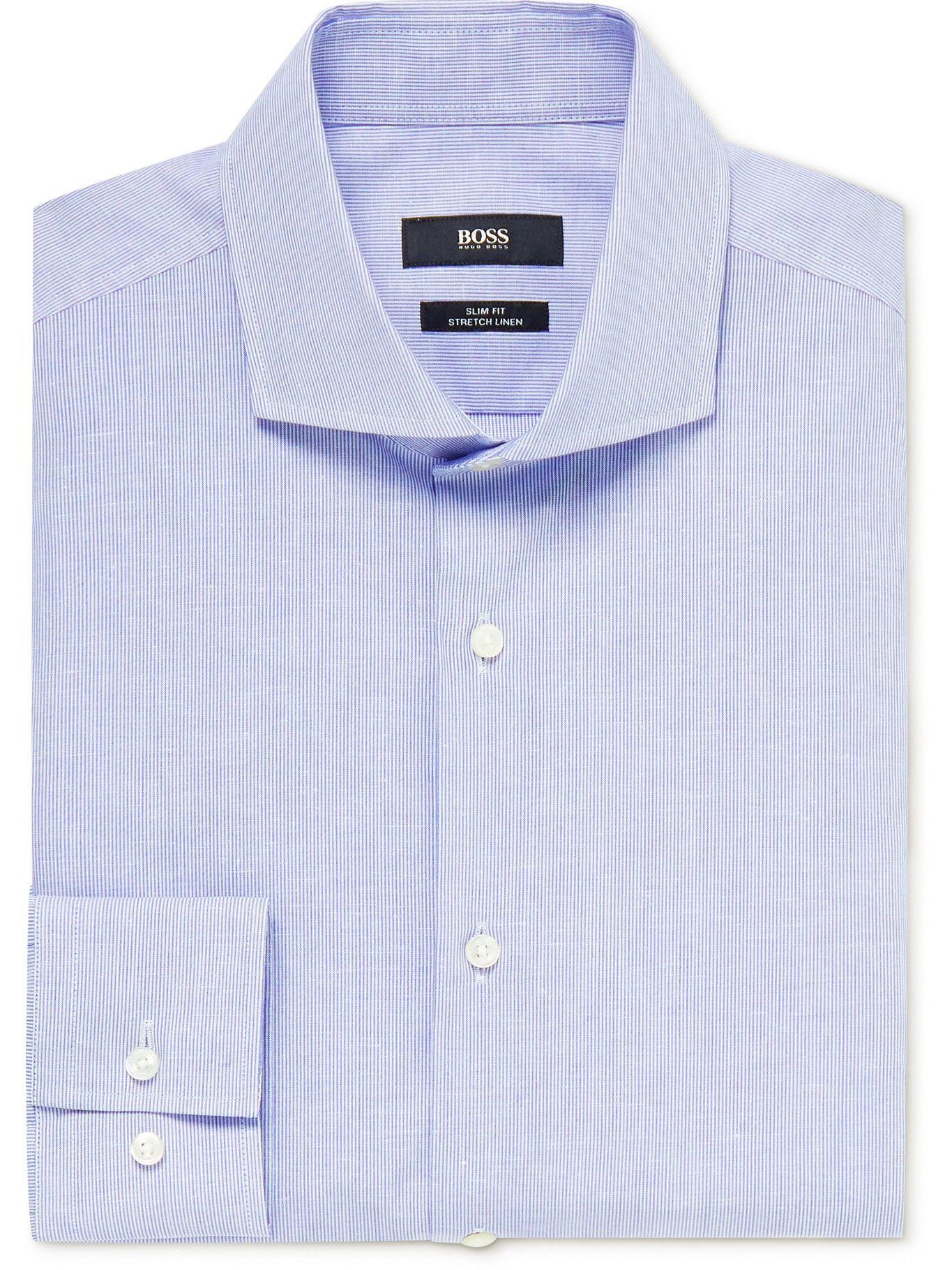 Photo: HUGO BOSS - Jason Cutaway-Collar Pinstriped Cotton and Linen-Blend Shirt - Blue