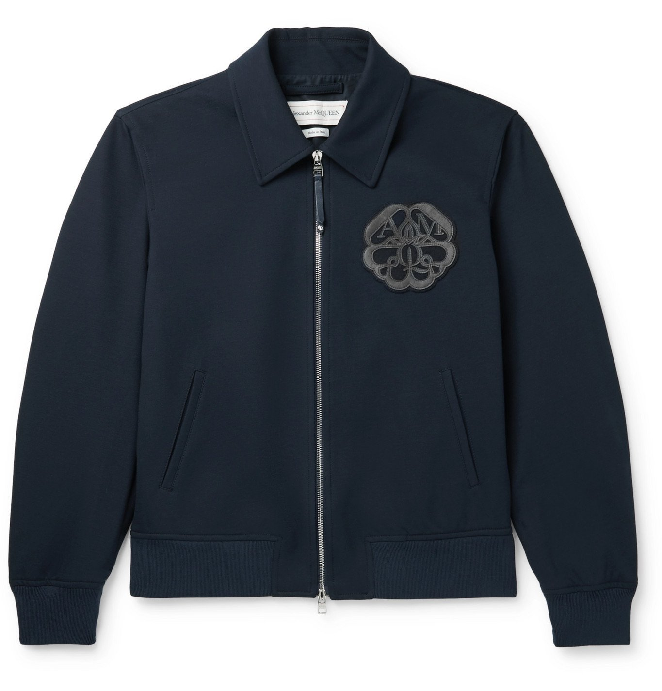 Photo: Alexander McQueen - Leather and Fleece-Trimmed Cotton-Blend Twill Jacket - Blue