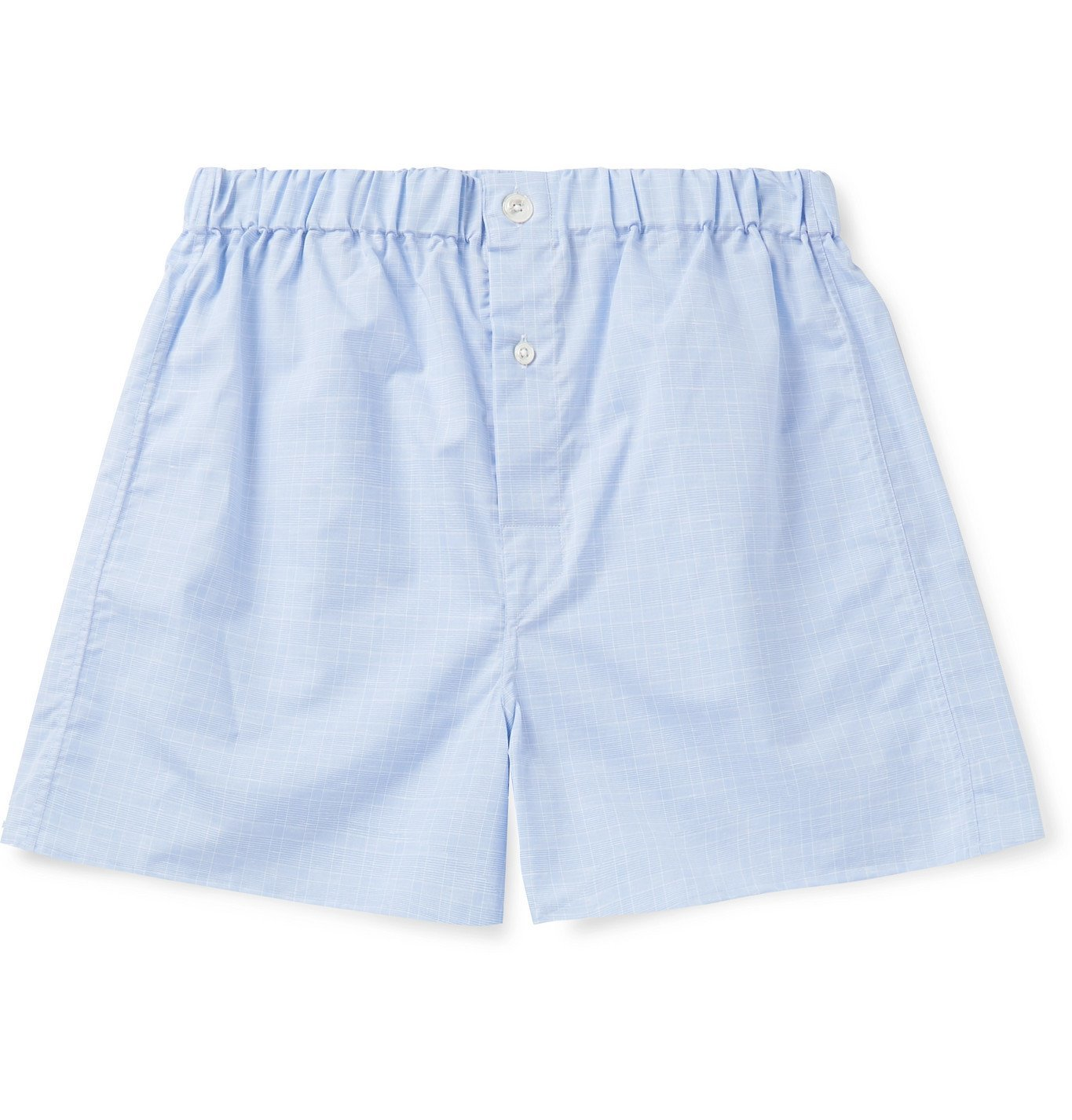 Photo: Emma Willis - Prince of Wales Checked Cotton-Poplin Boxer Shorts - Blue