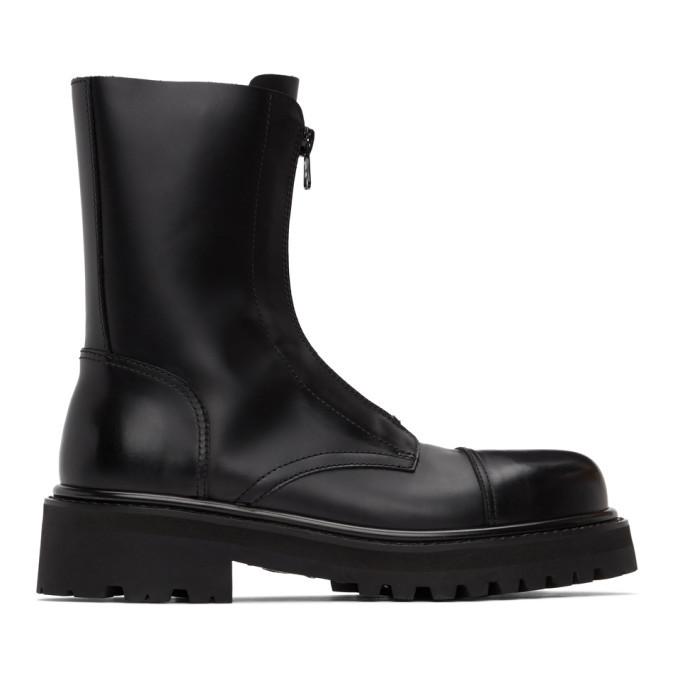 Photo: VETEMENTS Black Zip-Up Ankle Boots