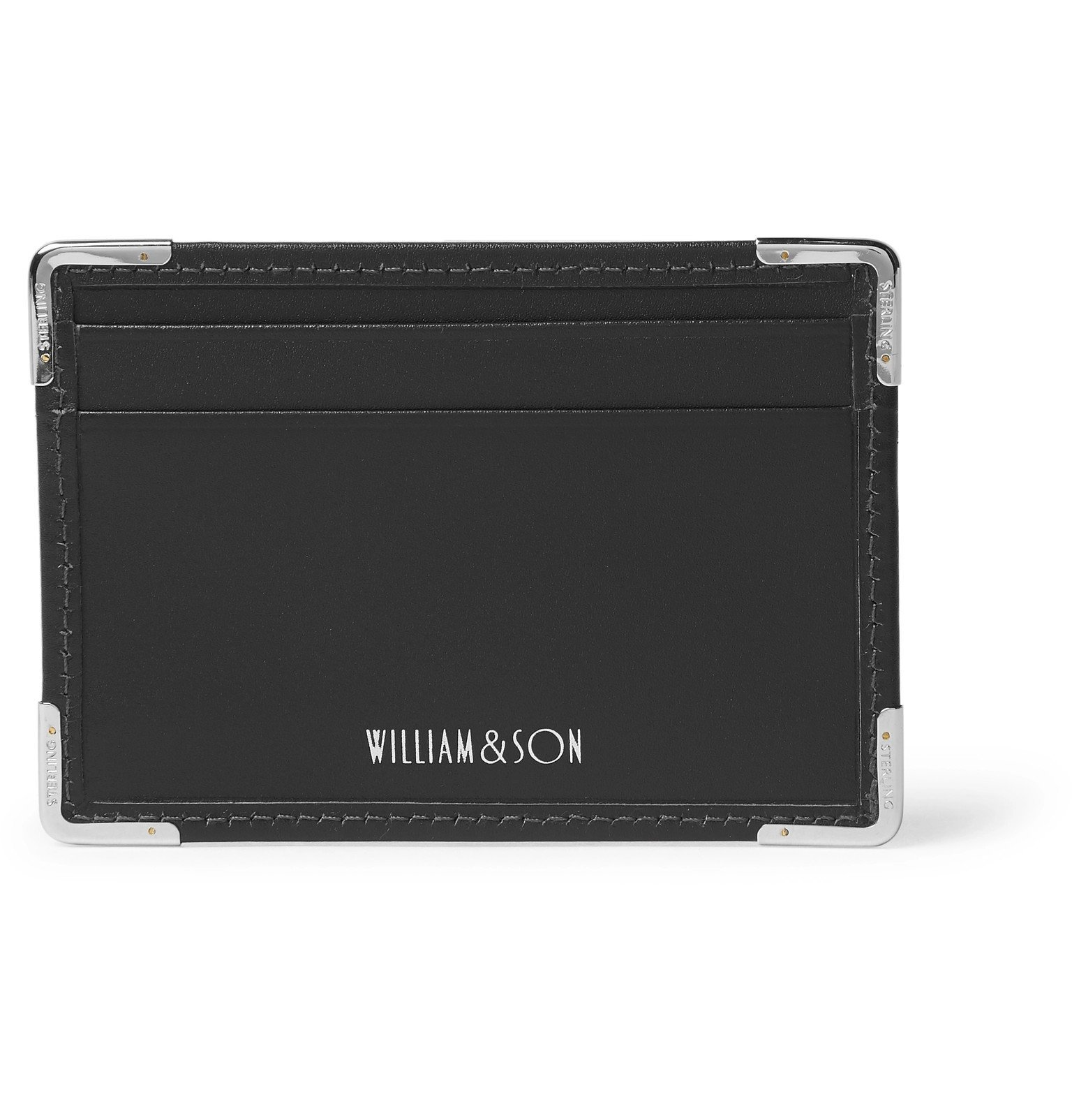 Photo: William & Son - Silver Tone-Trimmed Leather Cardholder - Black