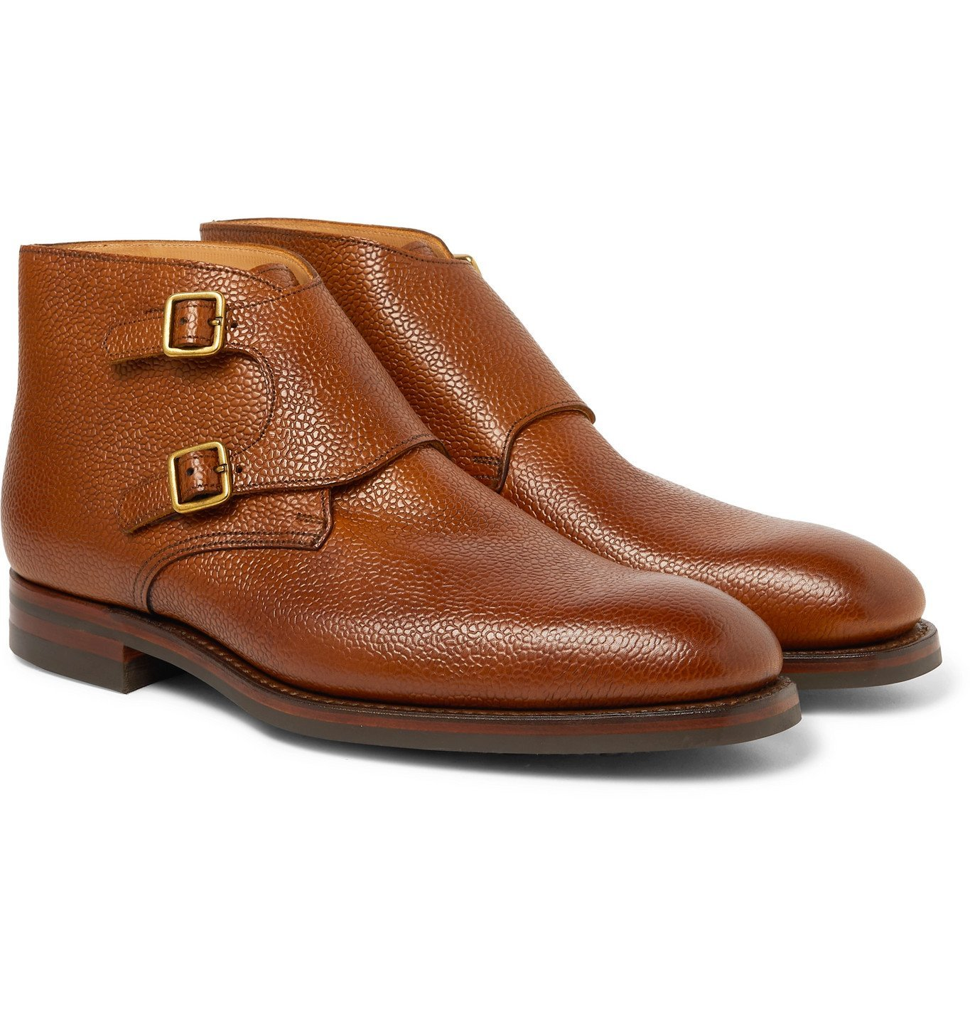 Photo: George Cleverley - Pebble-Grain Leather Monk-Strap Boots - Brown