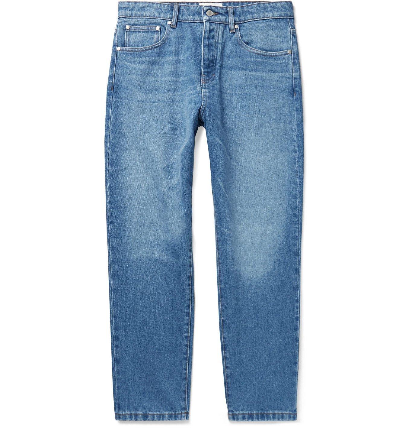 Photo: AMI PARIS - Cropped Tapered Denim Jeans - Blue