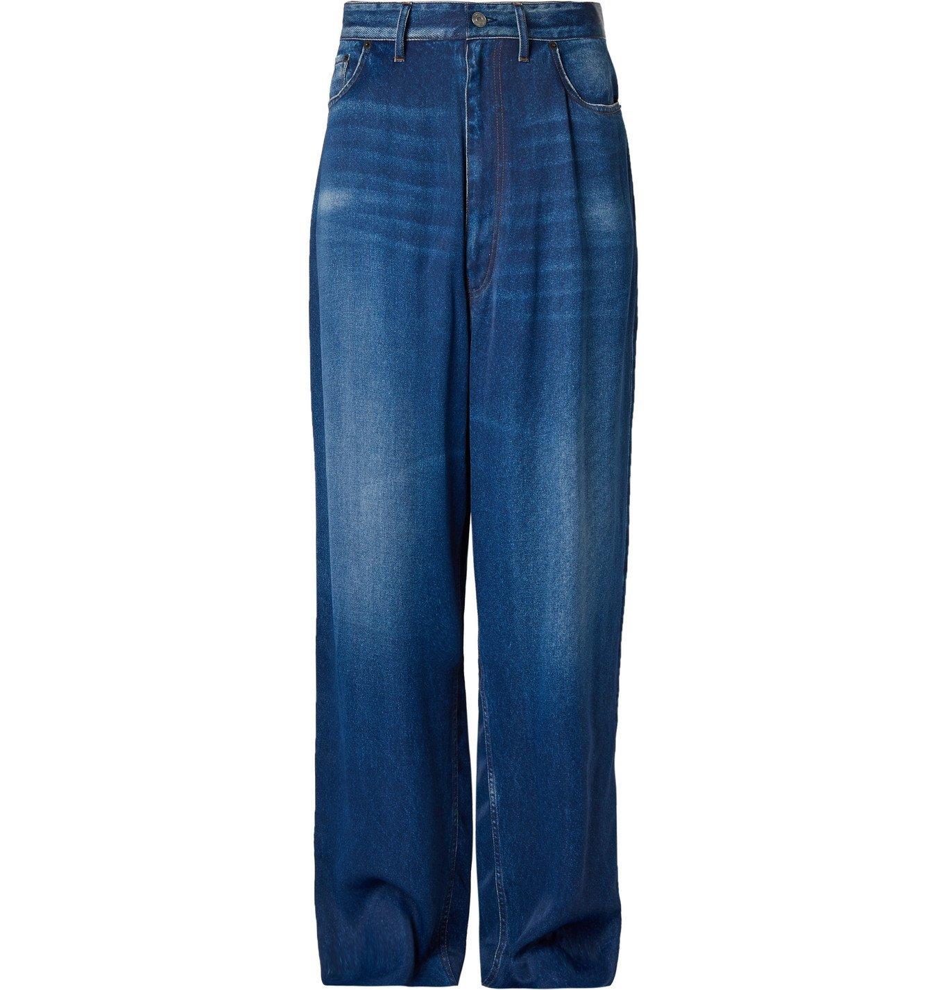 Photo: Balenciaga - Printed Satin Trousers - Blue