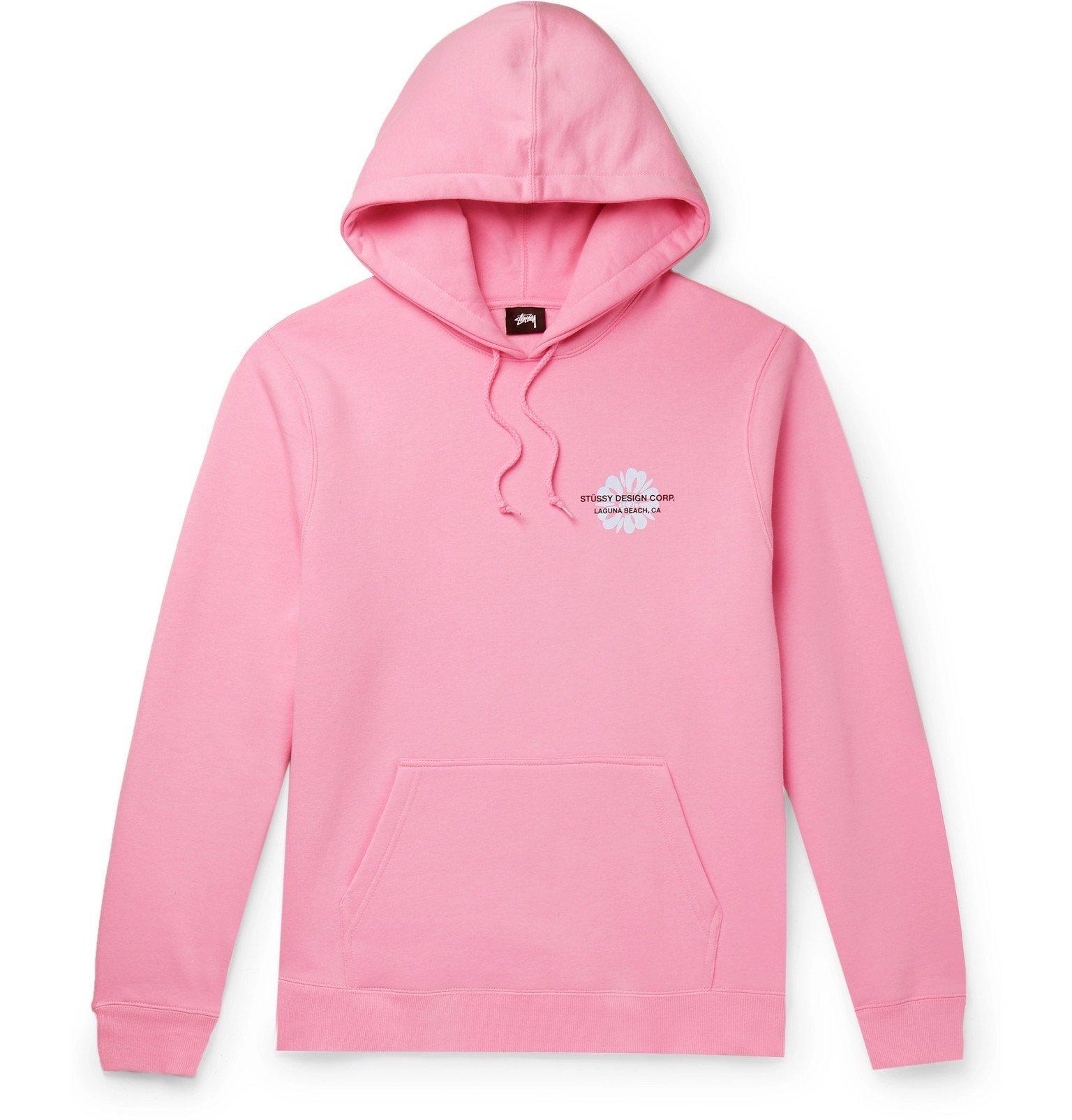 Photo: Stüssy - Printed Fleece-Back Cotton-Blend Jersey Hoodie - Pink