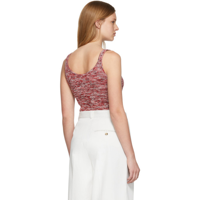 Bottega Veneta Red and White Knit Pattern Tank Top