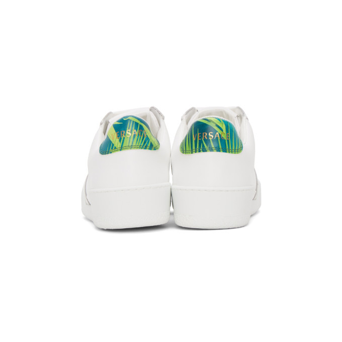 Versace White and Green Jungle Ilus Sneakers