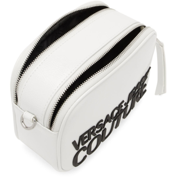 Versace Jeans Couture White Shiny Logo Camera Bag