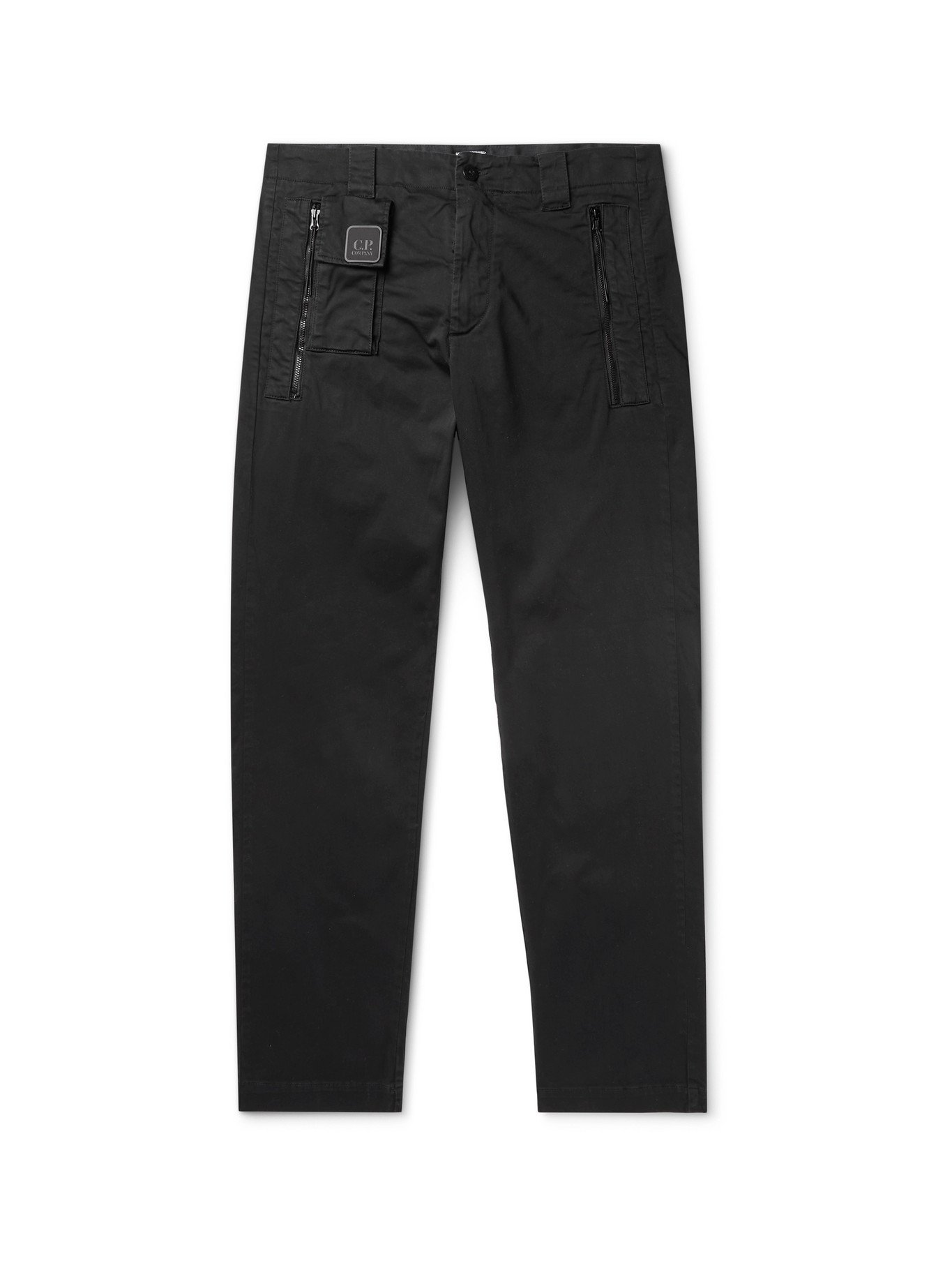 Photo: C.P. COMPANY - Logo-Appliquéd Garment-Dyed Cotton-Blend Trousers - Black - IT 48