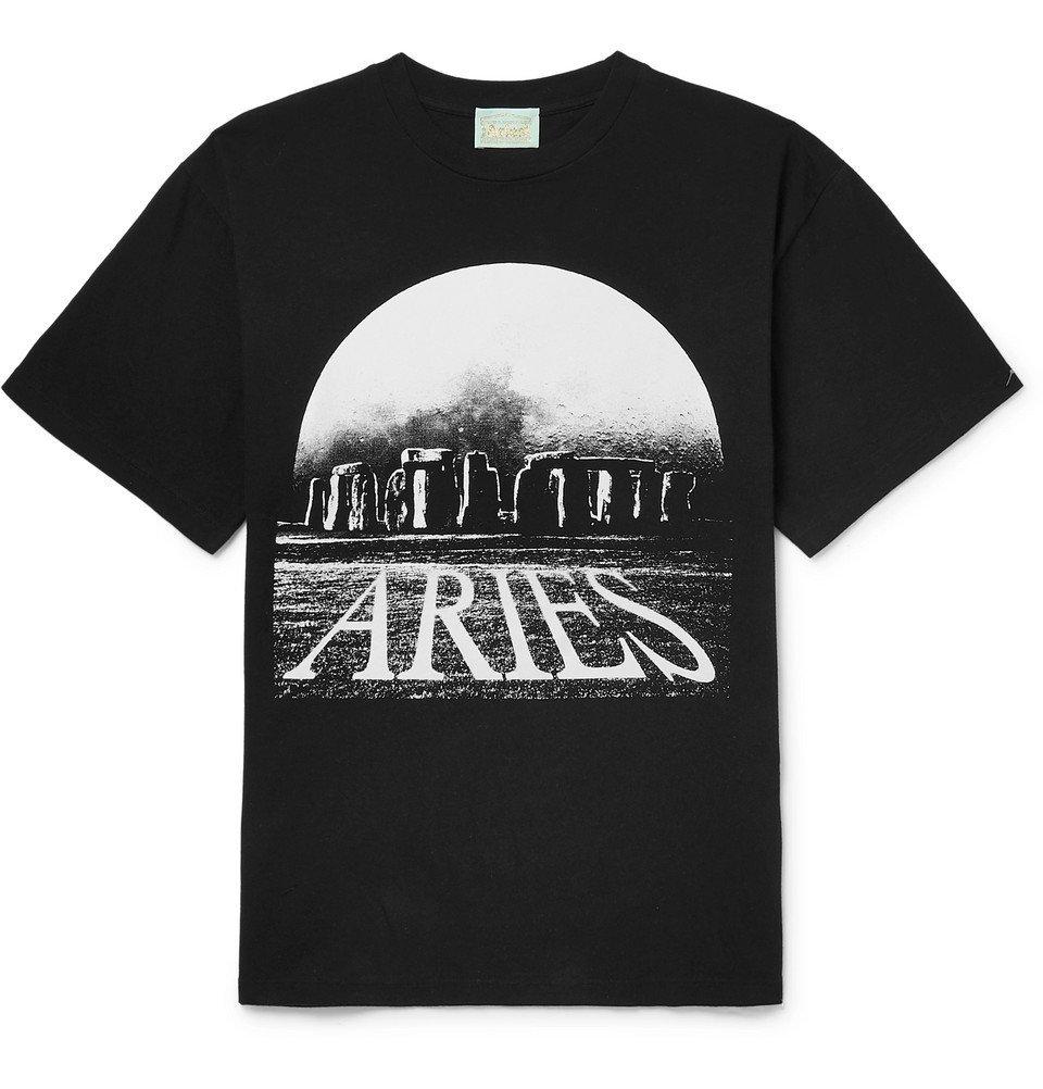 Aries - Moonhenge Printed Cotton-Jersey T-shirt - Men - Black