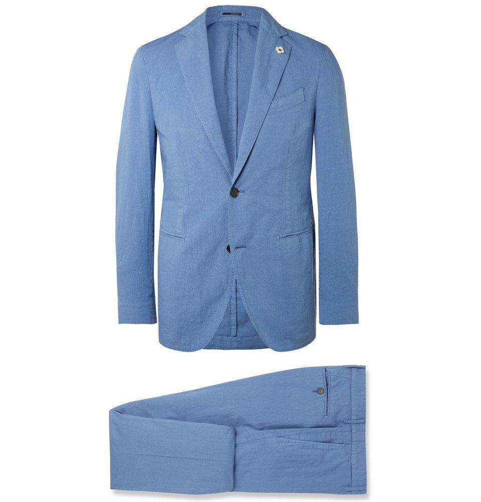 Photo: Lardini - Blue Slim-Fit Stretch-Cotton and Linen-Blend Suit - Blue