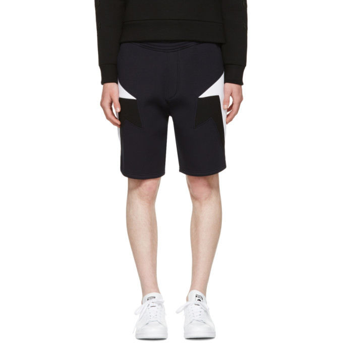 Photo: Neil Barrett Navy Tricolor Modernist Shorts