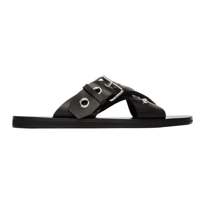 Photo: Versace Black Palladium Buckle Sandals