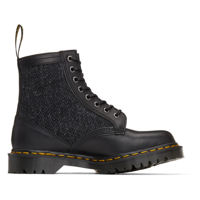Photo: Dr. Martens Black Made In England Harris Tweed Edition 1460 Boots