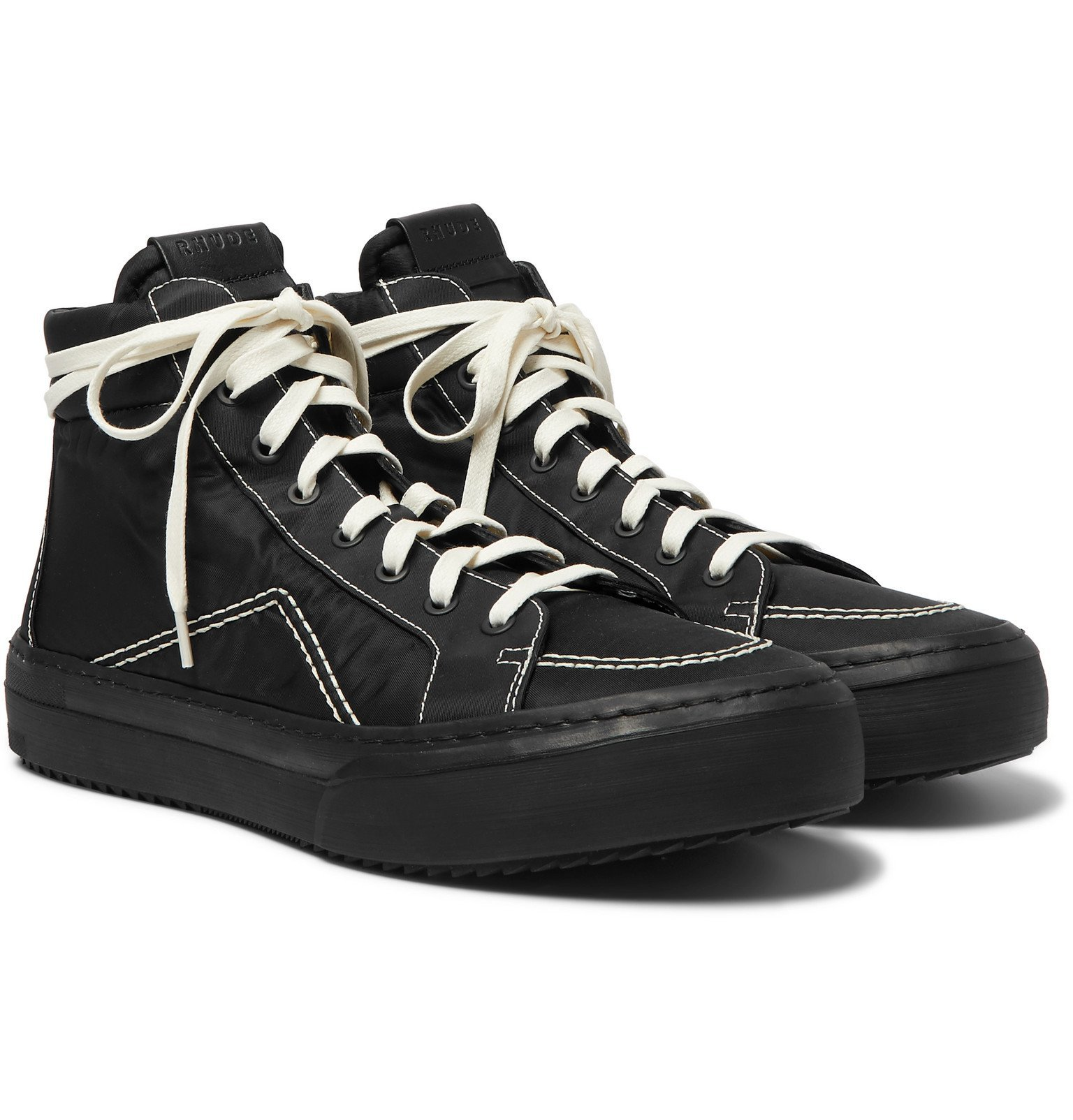 Photo: Rhude - V1 Leather-Trimmed Nylon High-Top Sneakers - Black