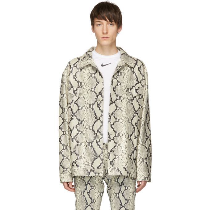 Photo: 1017 Alyx 9SM Grey and Off-White Leather Cage Jacket