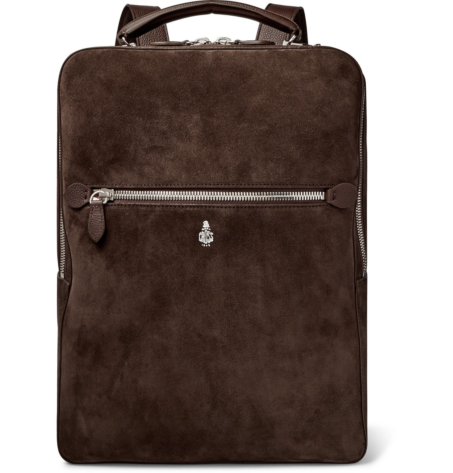 Photo: Mark Cross - Alexander Leather-Trimmed Suede Backpack - Brown