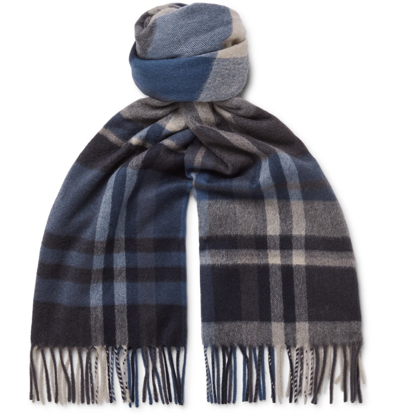 Photo: Loro Piana - Fringed Checked Cashmere Scarf - Blue