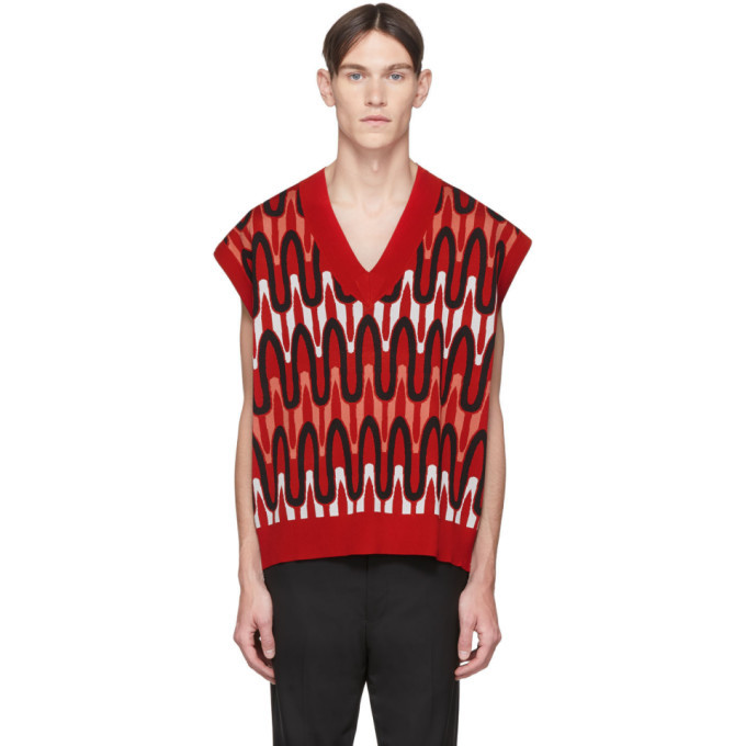 Photo: Neil Barrett Red Scribble Striped Sweater Vest