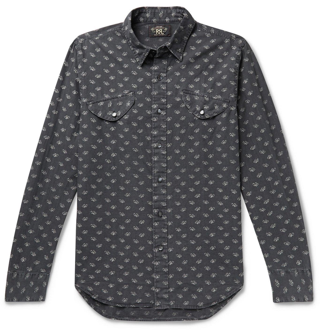 RRL - Opry Slim-Fit Printed Cotton Shirt - Gray