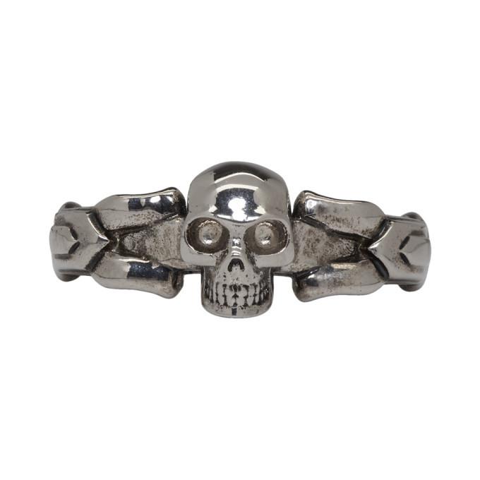 Photo: Alexander McQueen Silver Textured Skull Ring