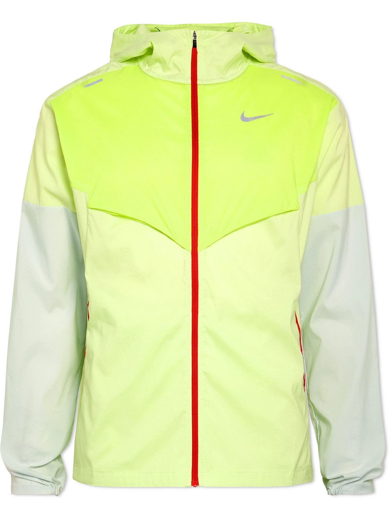 Photo: Nike Running - Windunner Packable Colour-Block Stretch-Shell Hooded Jacket - Green