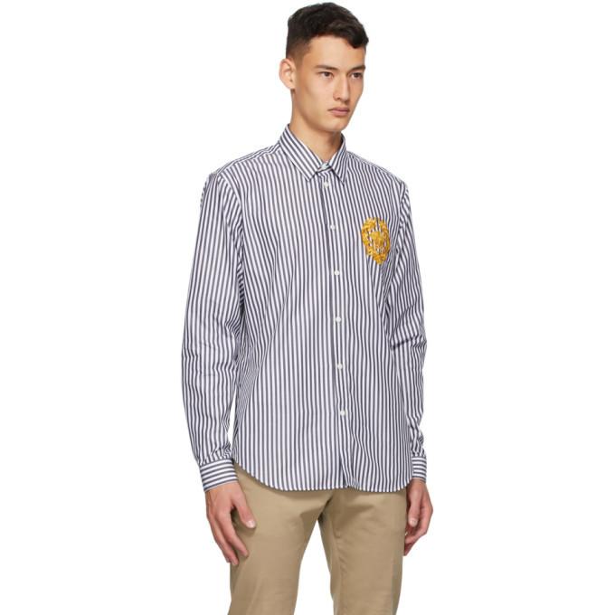 Versace Blue and White Striped Medusa Shirt