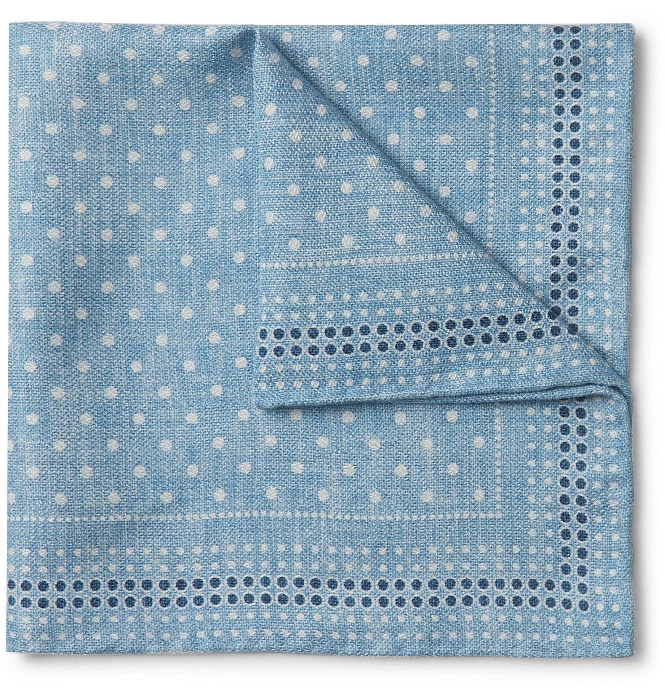 Photo: Brunello Cucinelli - Reversible Printed Silk Pocket Square - Blue