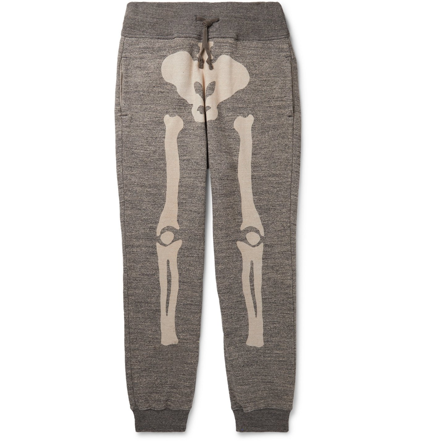 Photo: KAPITAL - Gradrelle Tapered Printed Mélange Loopback Cotton-Jersey Sweatpants - Gray