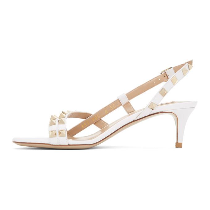 Valentino White Valentino Garavani Rockstud Slingback Sandals