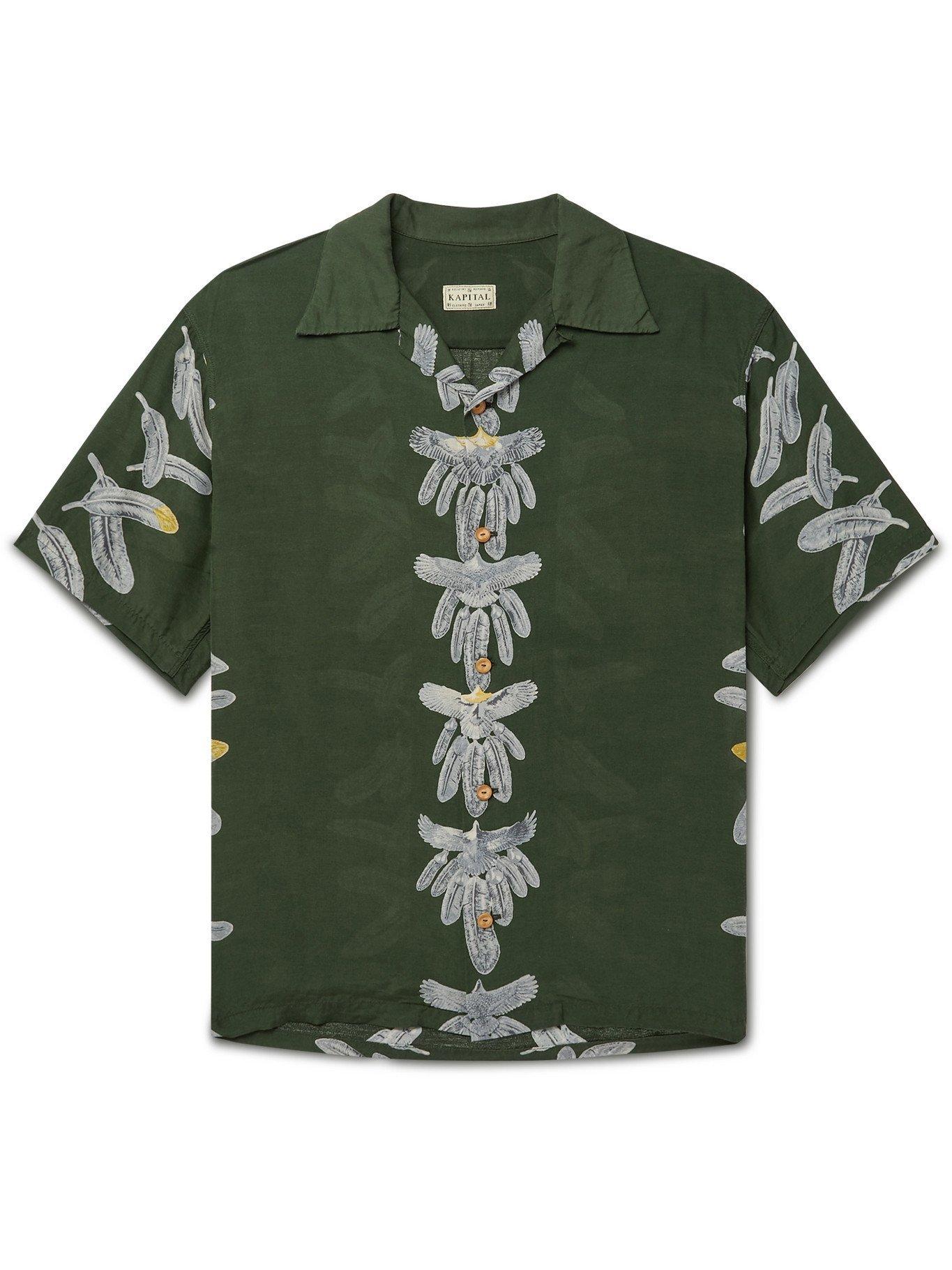 KAPITAL - Camp-Collar Printed Woven Shirt - Green