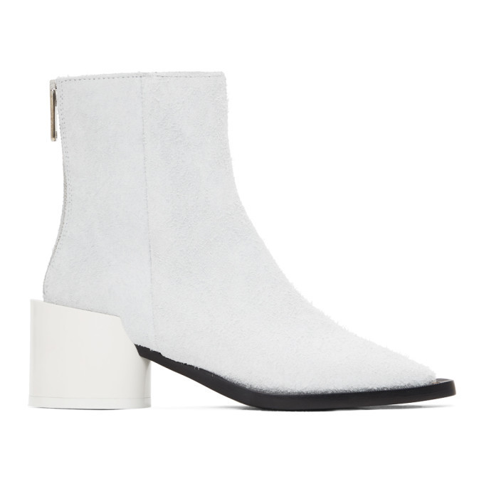 Photo: MM6 Maison Margiela White Suede Square Toe Ankle Boots