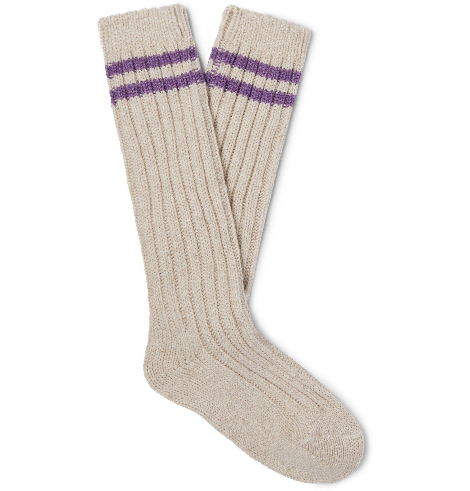 Photo: The Elder Statesman - Yosemite Ribbed Striped Cashmere Socks - Neutrals