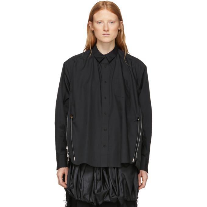 Sacai Black Cotton Poplin Shirt