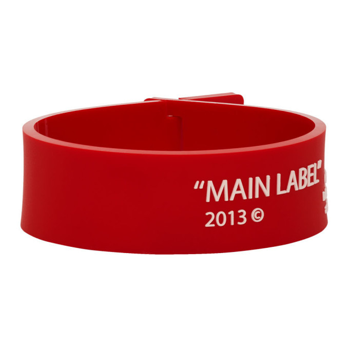 Photo: Off-White Red Thin Label Bracelet