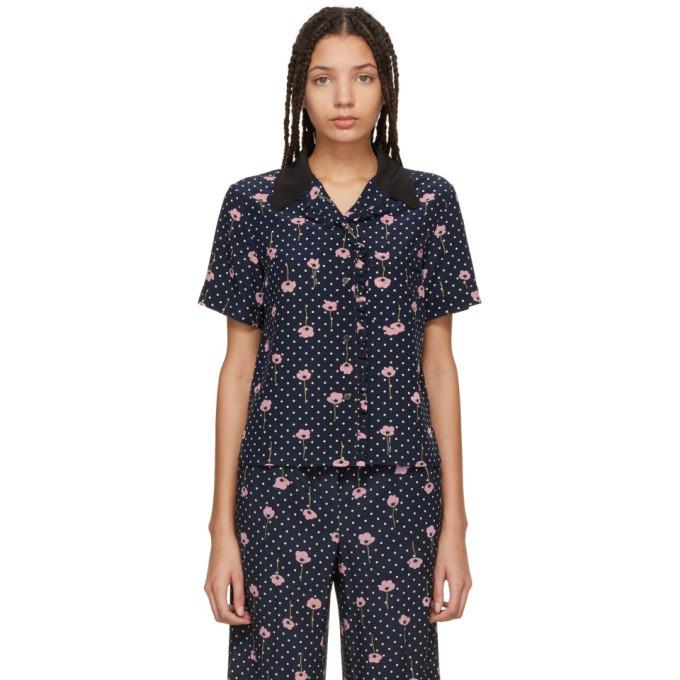 7d20e5b552 Miu Miu Navy Floral Polka Dot Pyjama Shirt