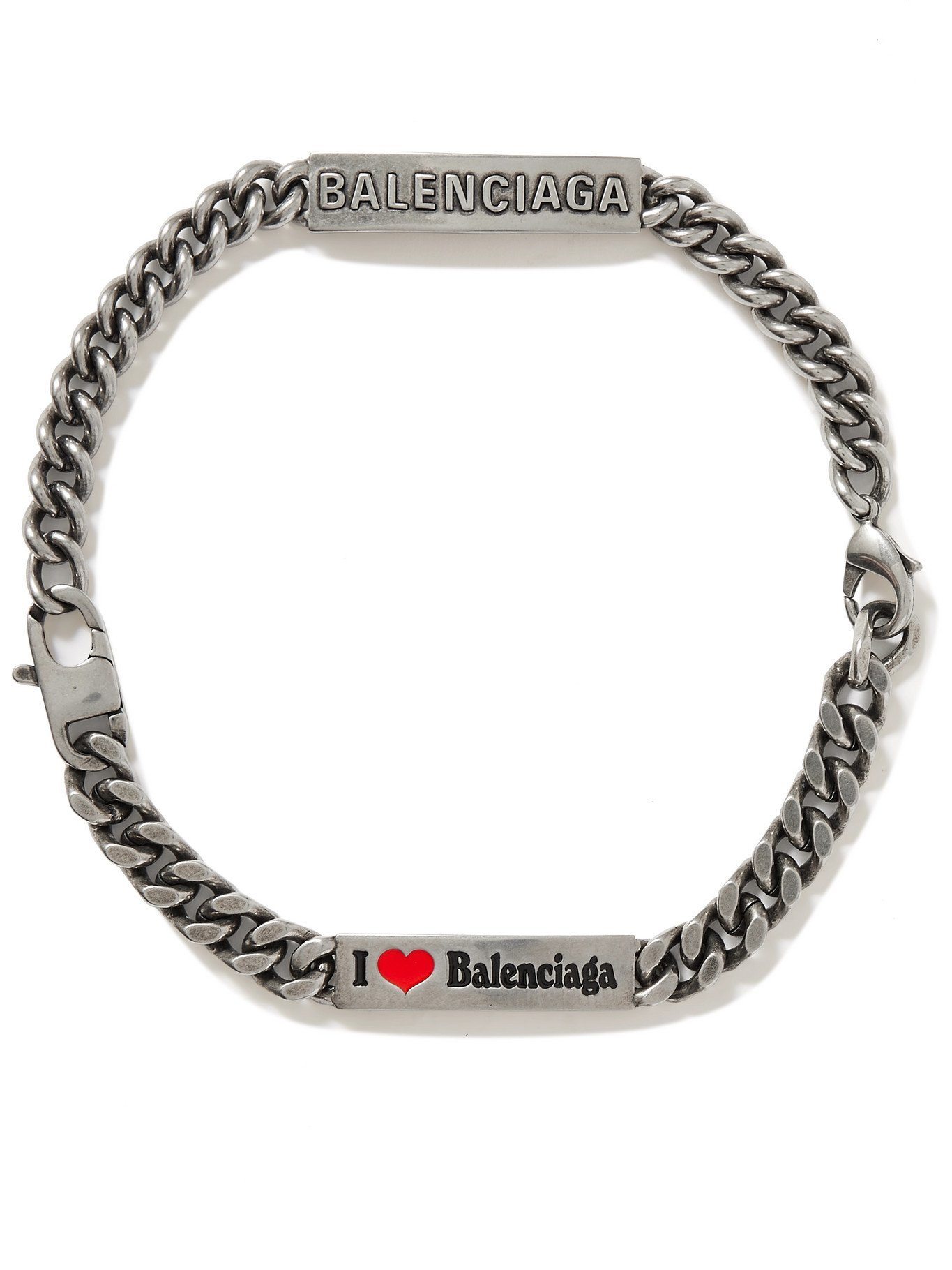 Photo: BALENCIAGA - Burnished Silver-Tone and Enamel Choker - Silver - M
