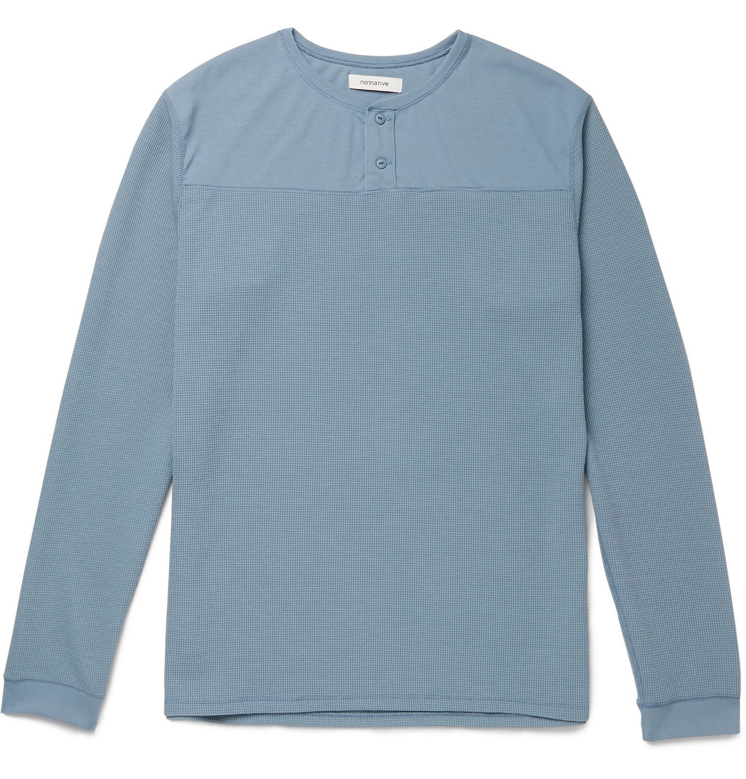 Photo: nonnative - Trooper Waffle-Knit Jersey Henley T-Shirt - Blue