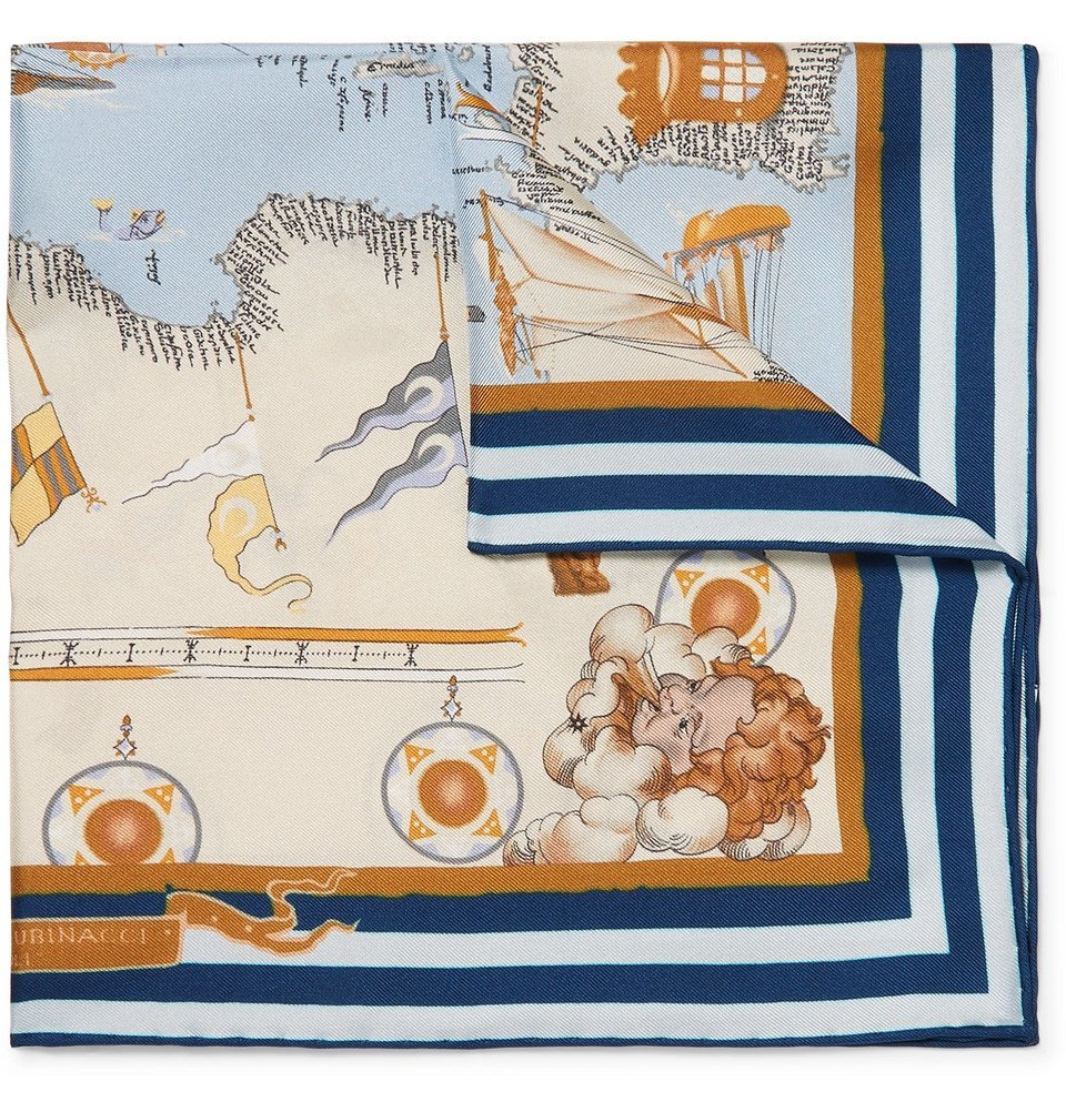 Photo: Rubinacci - Printed Silk-Twill Pocket Square - Blue