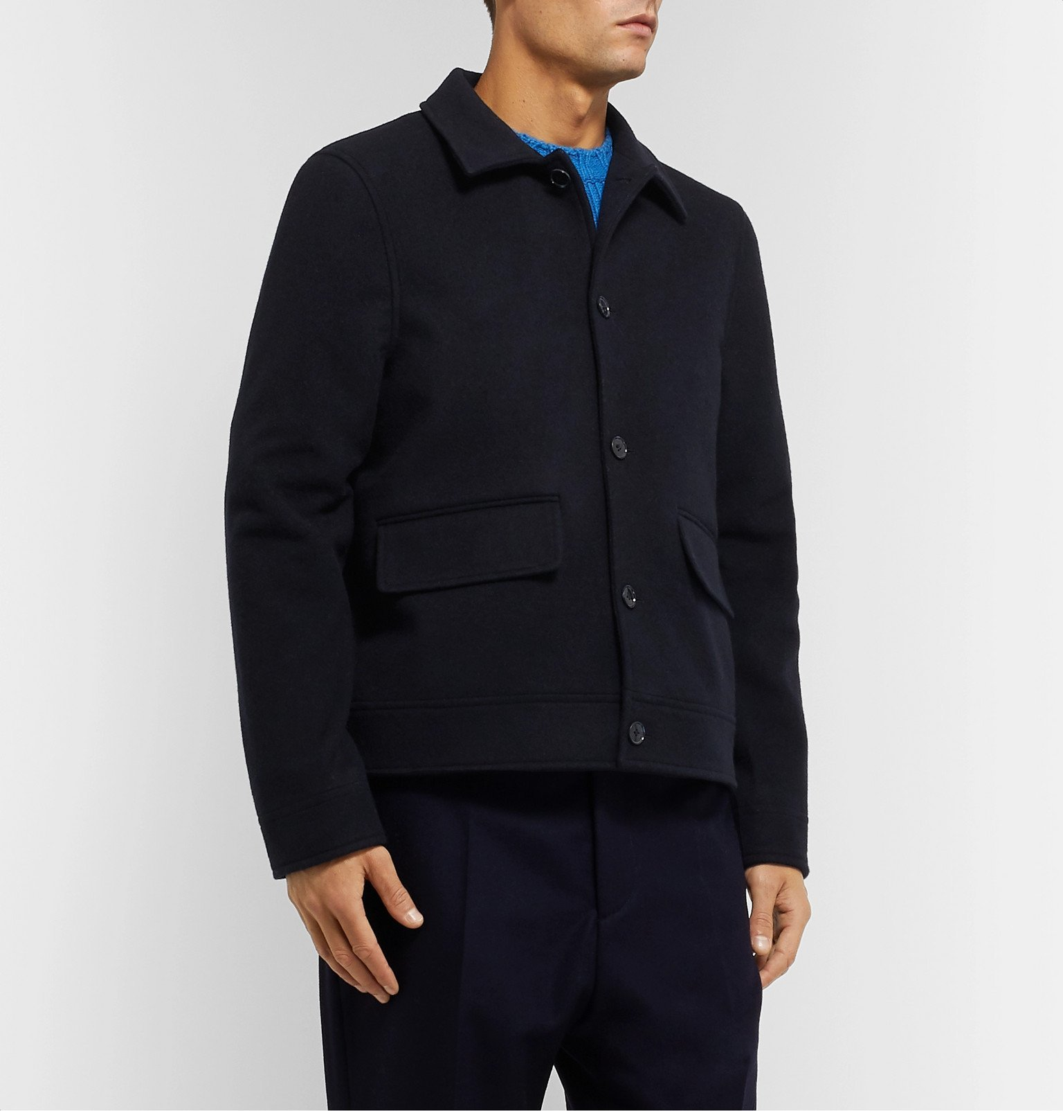Officine Generale - Karl Wool and Cashmere-Blend Harrington Jacket - Blue